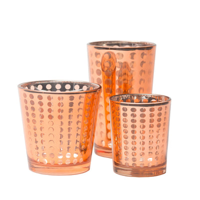 Richland Rose Gold Dotted Glass Holder - Small Set of 12