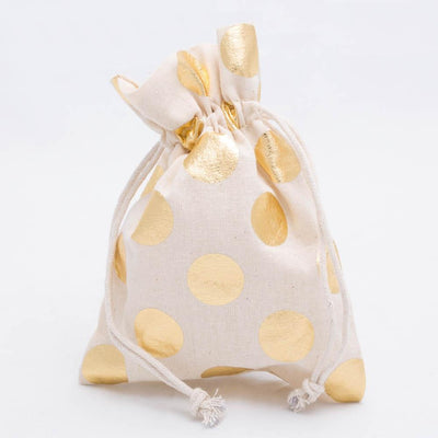 richland cotton bag 5 x 7 with gold dots set of 48