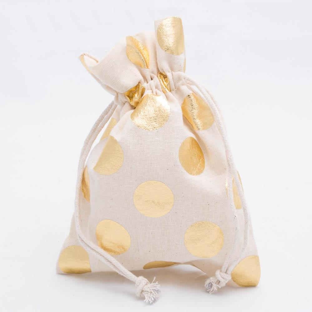 richland cotton bag 5 x 7 with gold dots set of 12