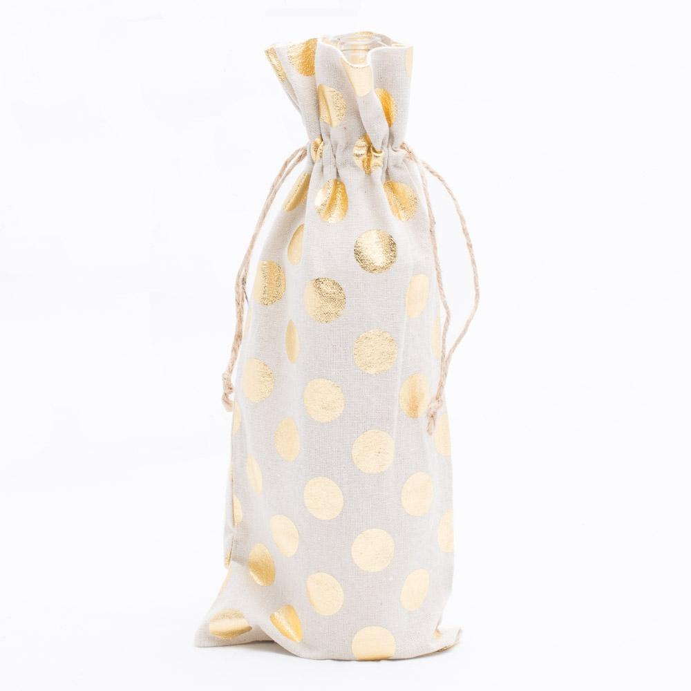 richland linen bag 6 x 14 with gold dots set of 12
