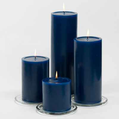 richland 4 x 4 navy blue pillar candles set of 6