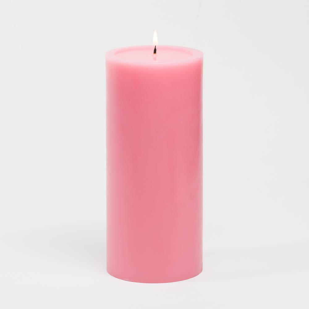 "Richland 4"" x 9"" Pink Pillar Candles Set of 6"