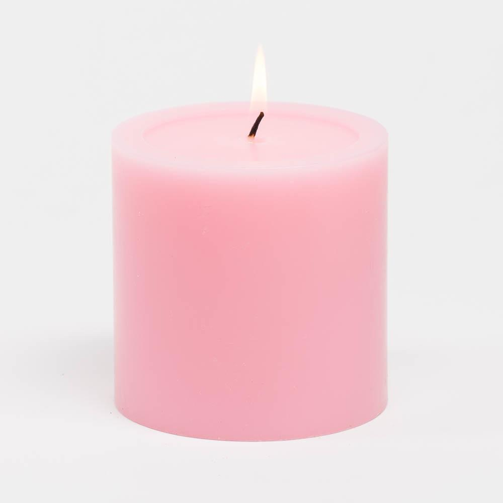 richland 4 x 4 pink pillar candles set of 6