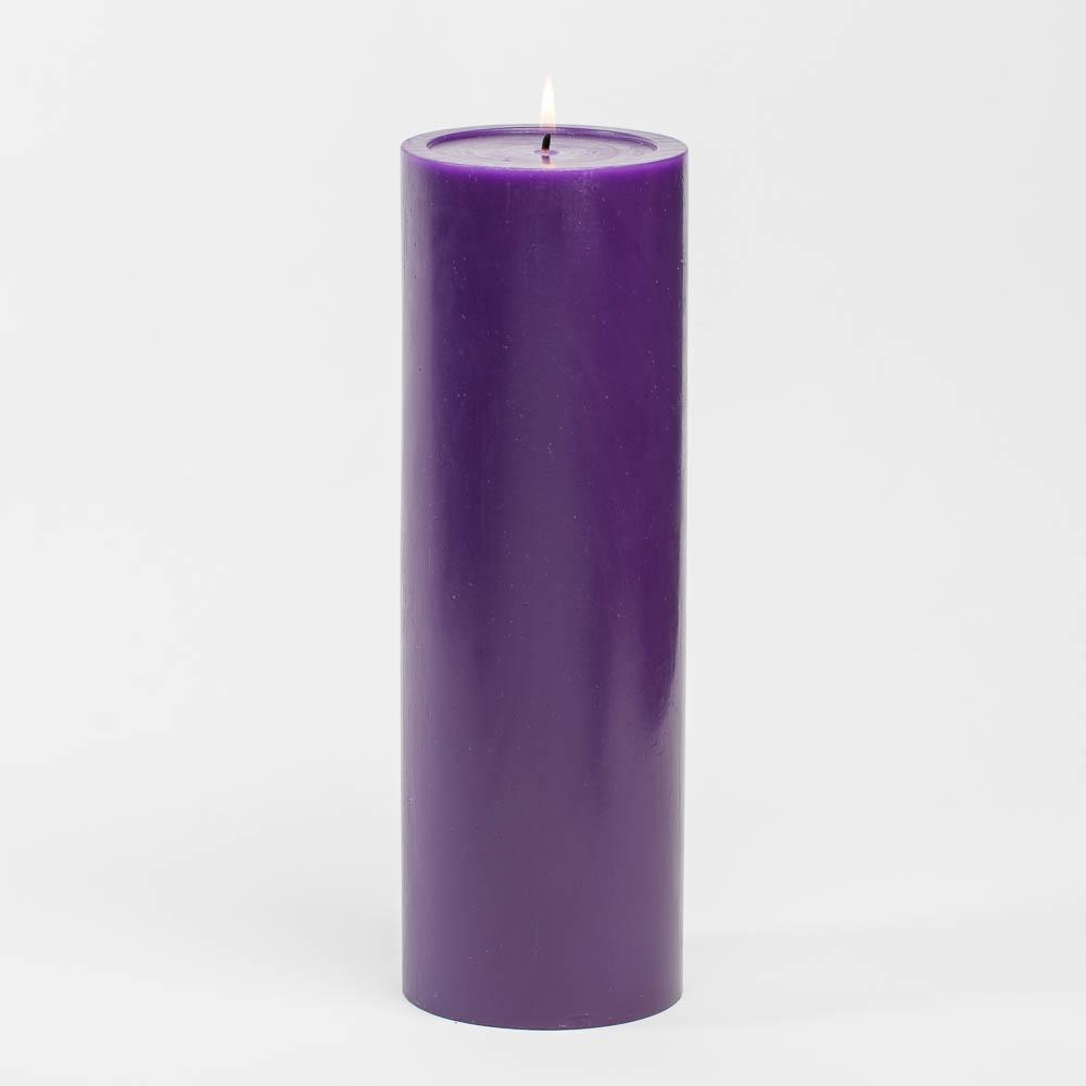 "Richland 4"" x 12"" Purple Pillar Candle Set of 6"