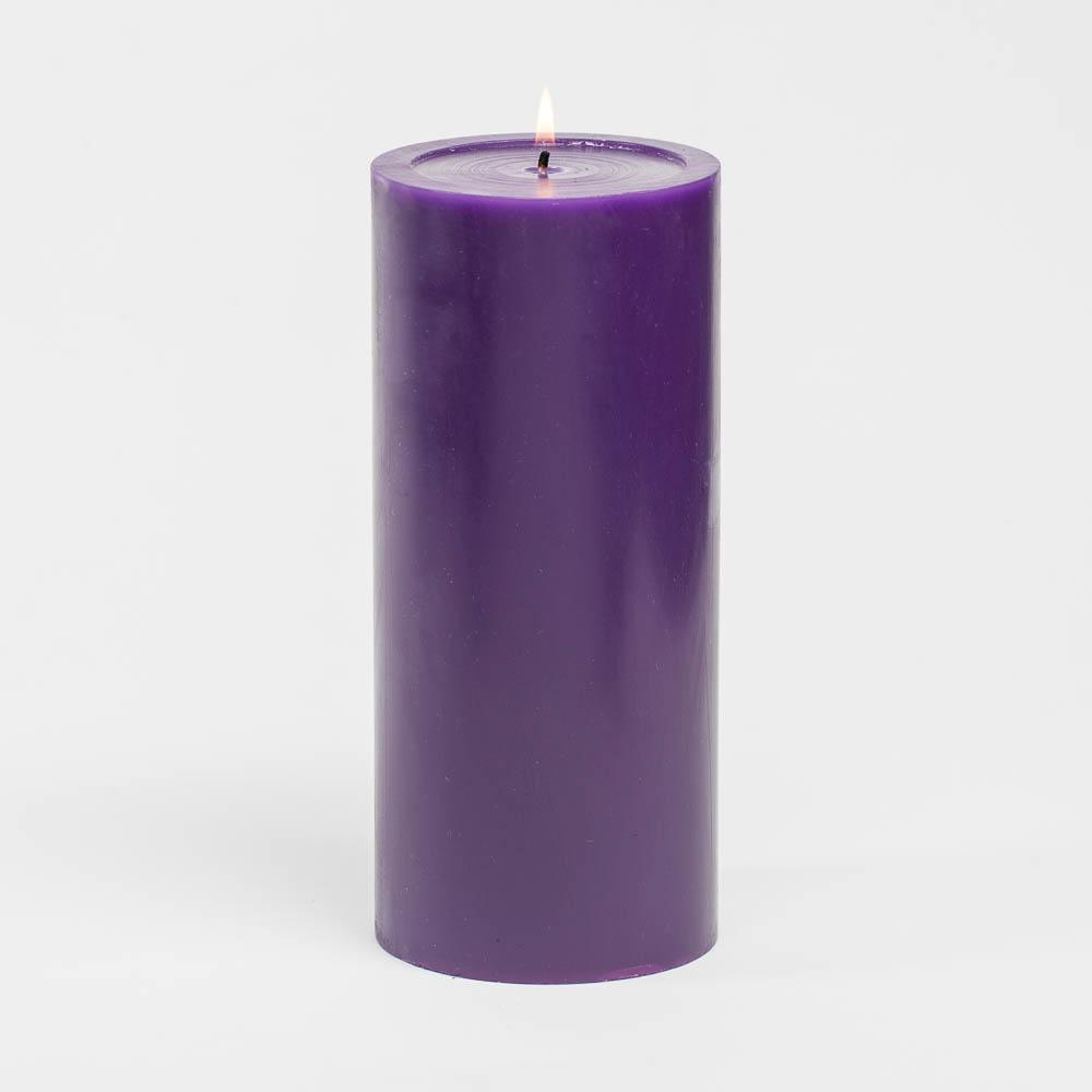 richland 4 x 9 purple pillar candles set of 6