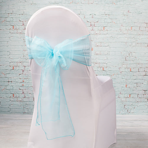 "Richland 7""x108"" Turquoise Organza Chair Sash Set of 10"