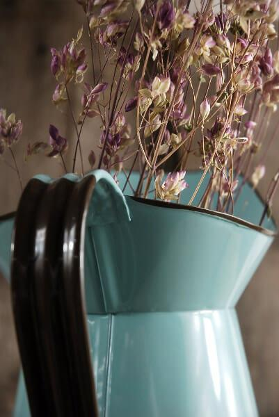 "AQUA BLUE Enameled 11"" Pitcher"
