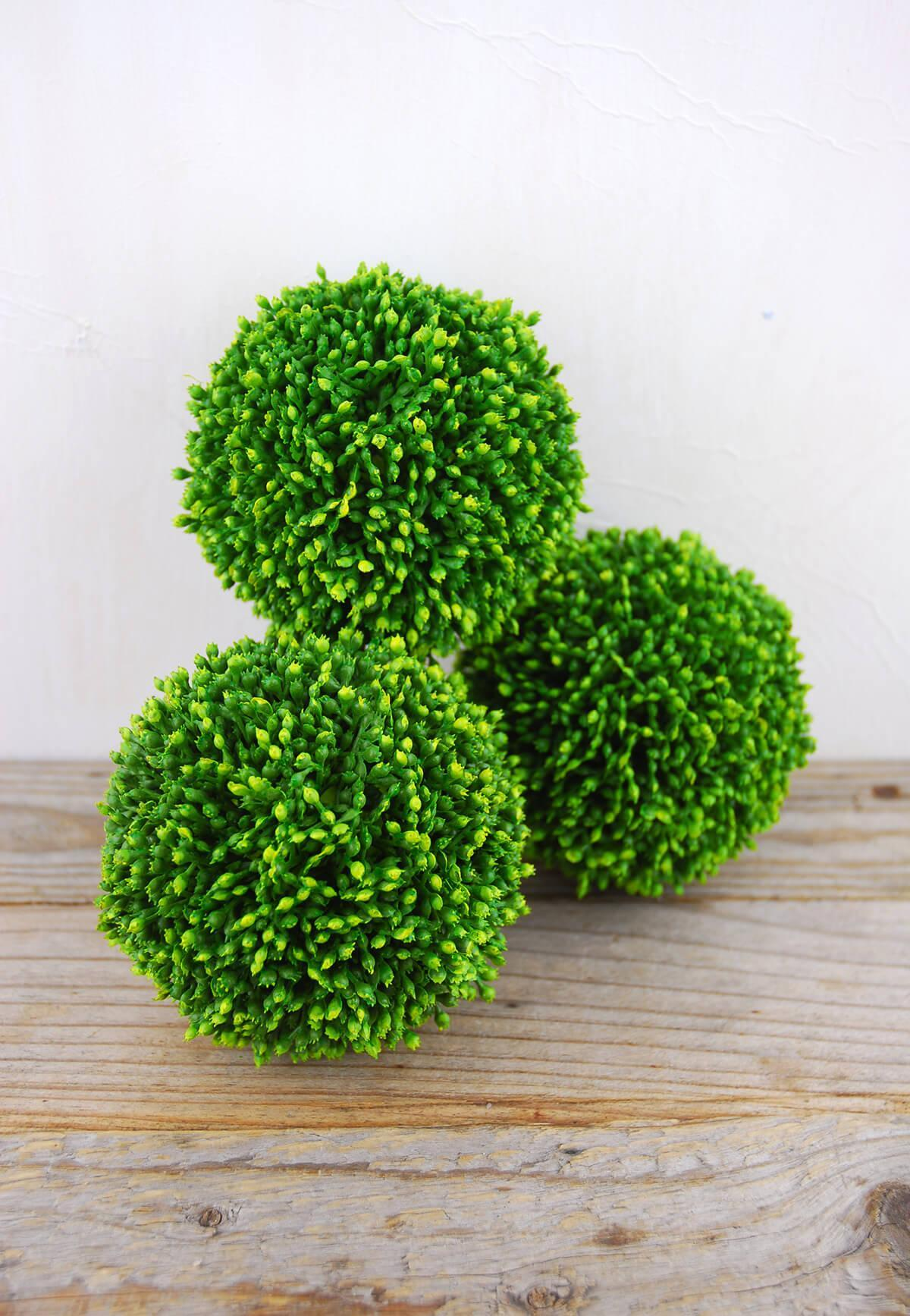 3 sedum balls 4in faux succulents