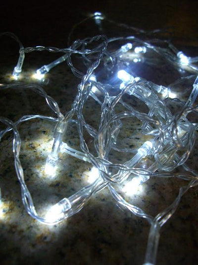 Clear Wire Battery Operated LED Lights 10.5 Feet 24 Lights