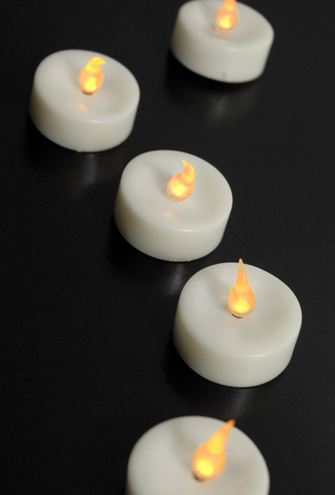 Flameless LED Tealight Candles Amber Set of 48