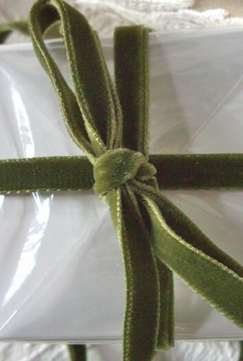 olive green italian df velvet ribbon 11 5ft