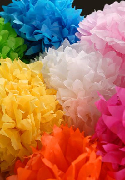 4 Large White Tissue Paper Pom Poms 20in | Pack of 4