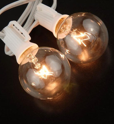 "Globe Lights Paper Lantern Lights 10ct  G40 C7 Clear  22.5ft  White Cord (24"" spacing)"