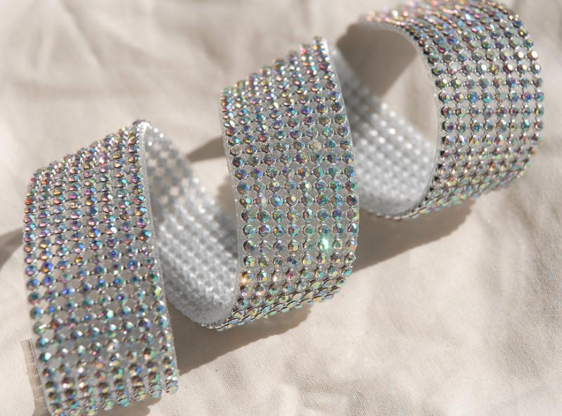 iridescent diamond ribbon trim with glass stones silver setting 1 1 8in x 18 1 2