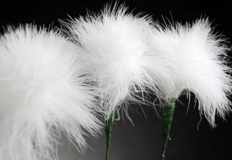 white marabou feather flower 20 wired stem