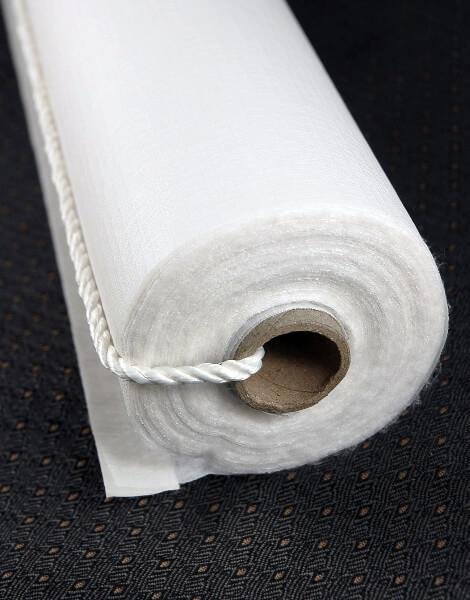 aisle runner 150 ft poly linen white