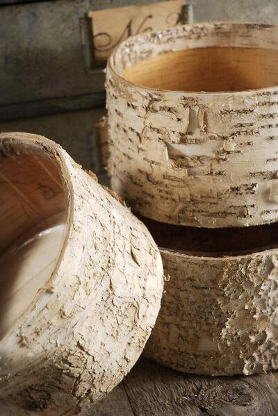 birch bark pots round 7 5 x 4