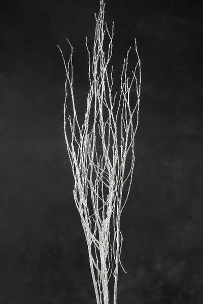 Birch Tree Branches Silver Sequin Sparkle 54""