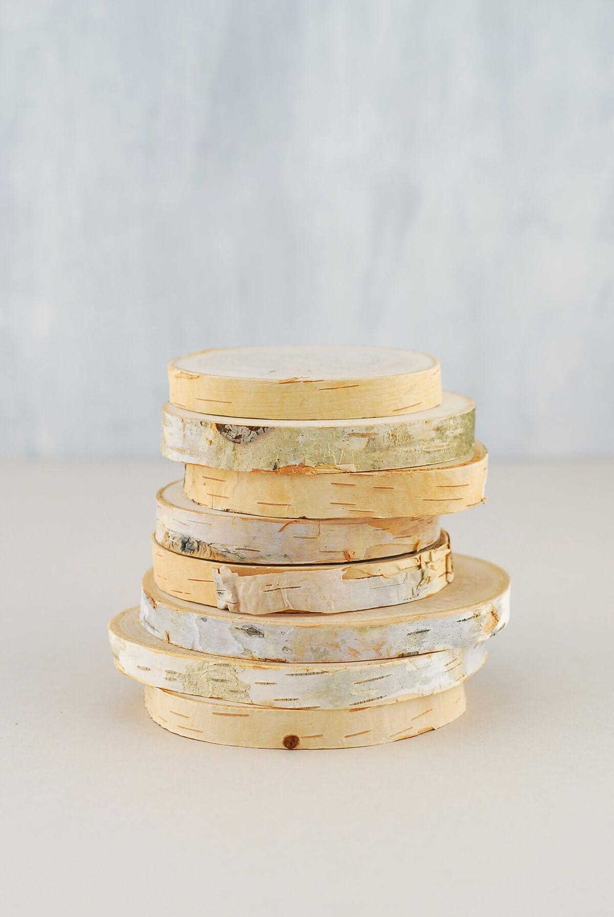 8 natural birch rounds 3 4in set of 8