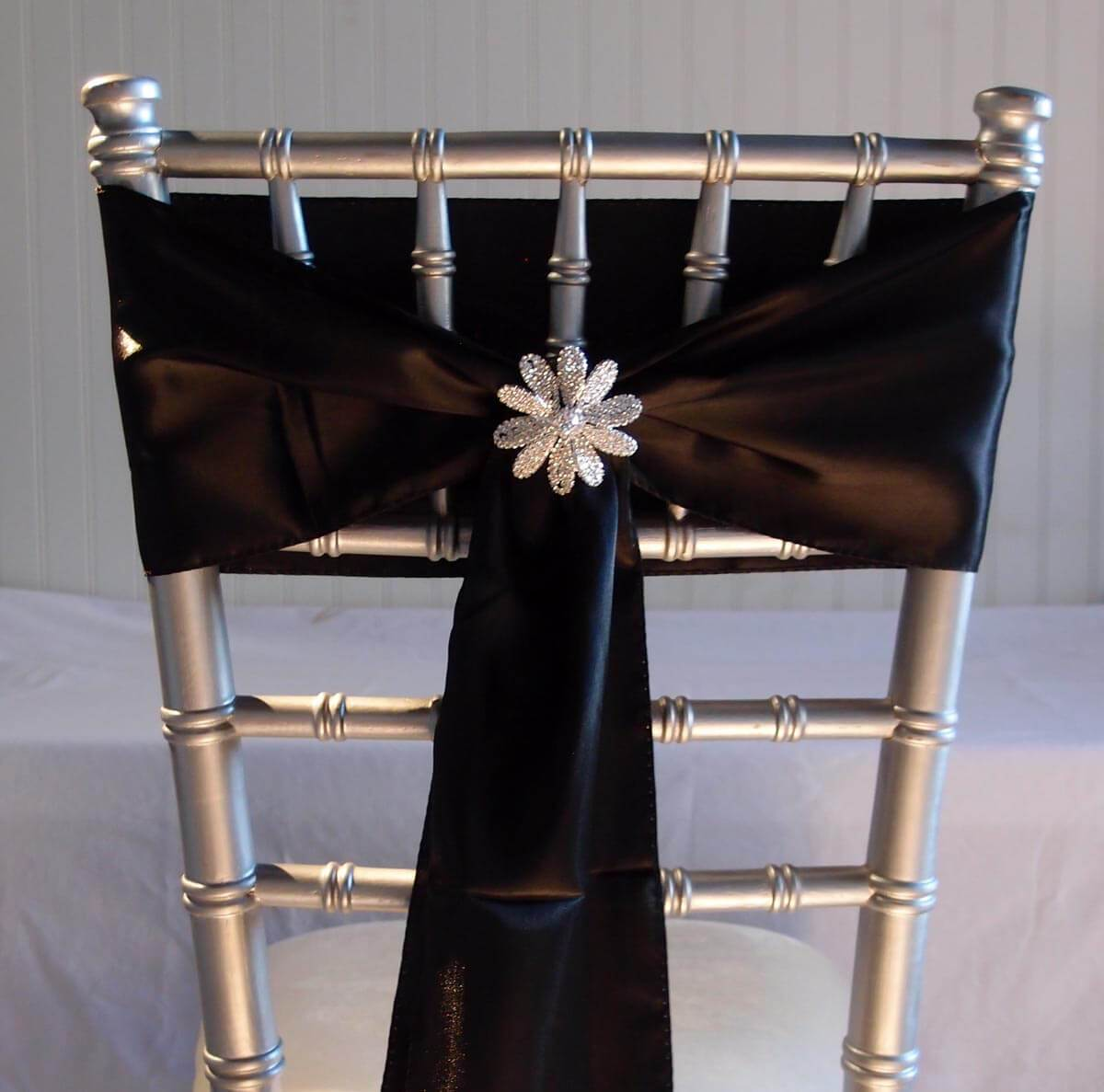 10 Black Satin Chair Sashes 6x108