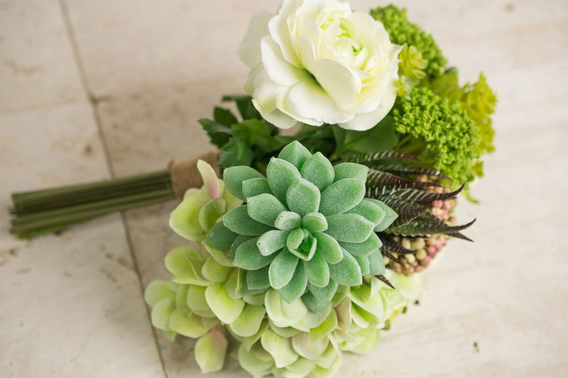 faux hydrangea rose succulent bouquet in green and white 12 tall