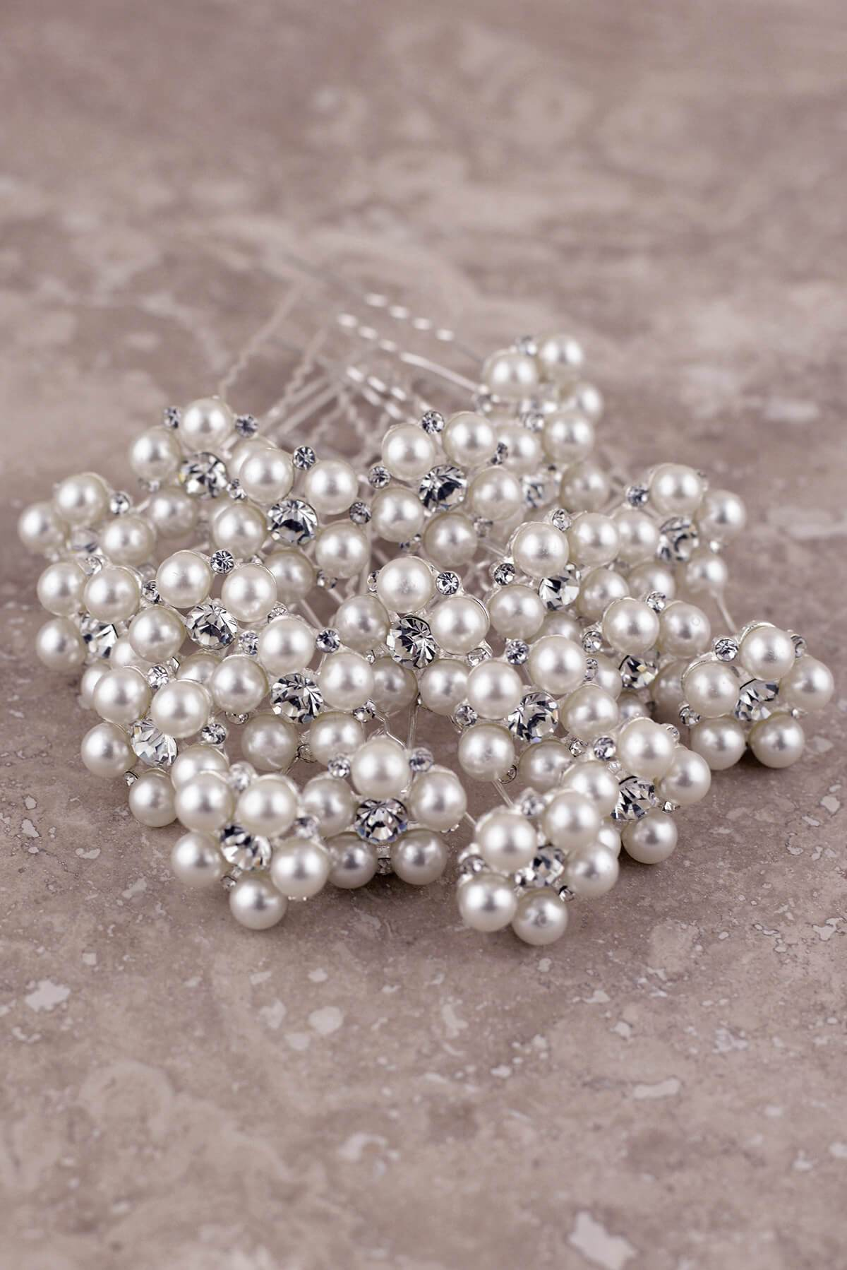 20 Pearl & Diamond Bouquet Picks 2.5in