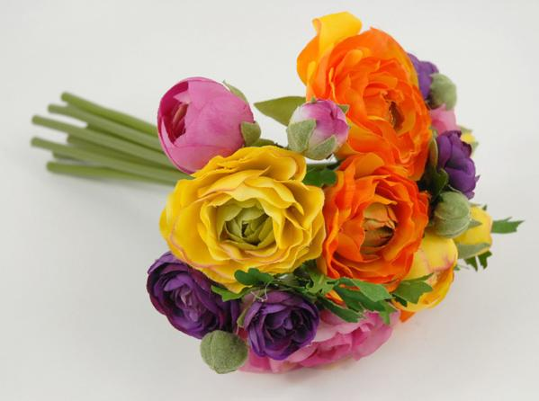 ranunculus flower bouquet 9 orange purple yellow
