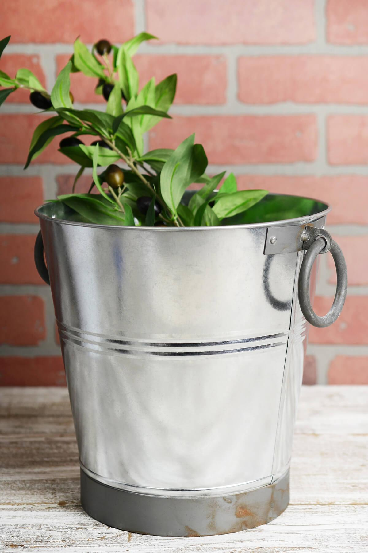 "9"" Galvanized Flower Bucket with Ring Handles"