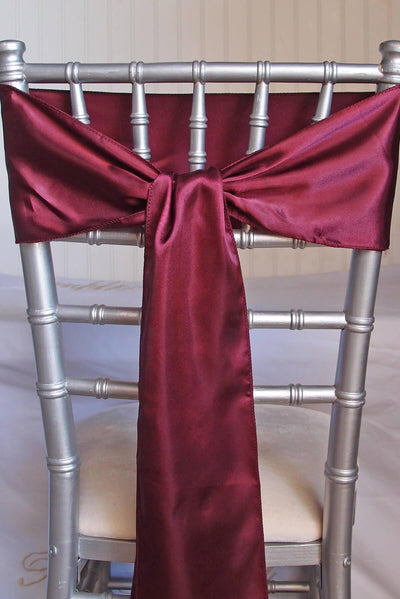 10 burgundy satin chair sashes 6x106