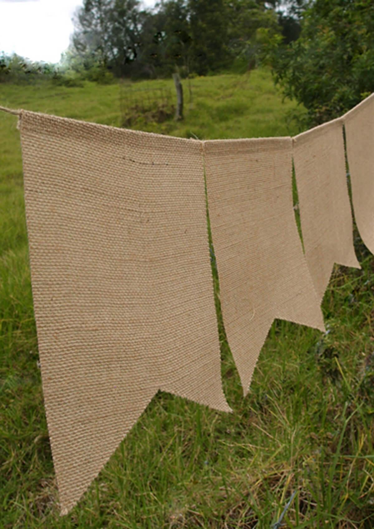 burlap swallow tail banner 5 pennants