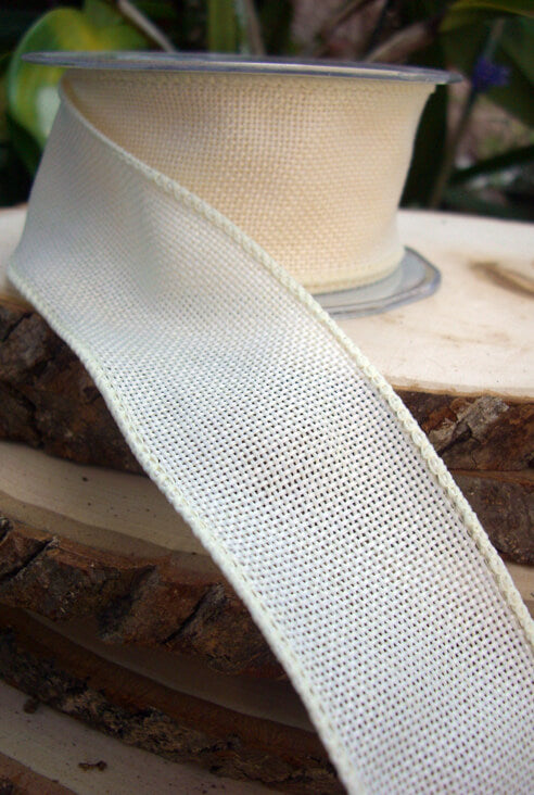 "Extra Fine Ivory Burlap Wired 2"" Wide  Ribbon 10yds"