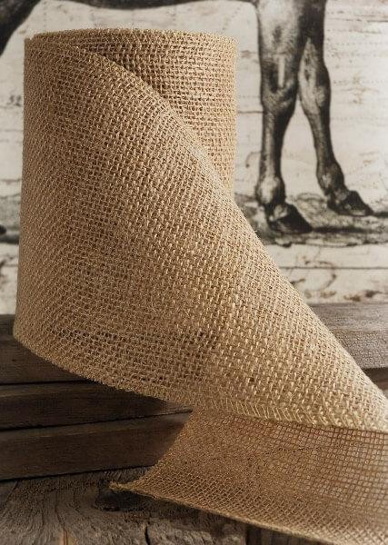burlap ribbon natural 6 x 10 yards