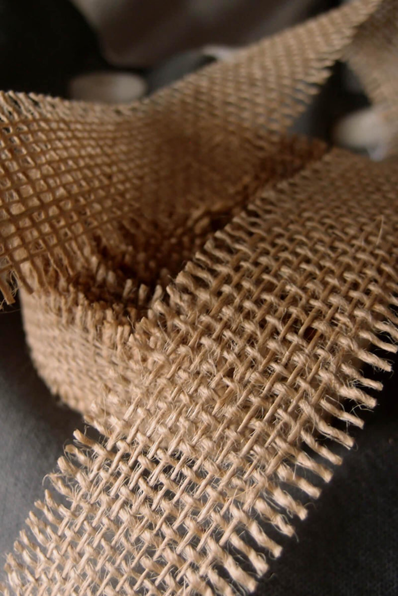 "Natural Burlap Ribbon Open Weave 1-1/2"" x 10 yards"