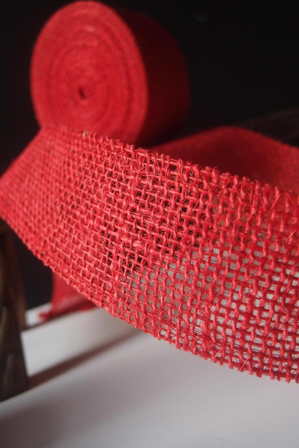 red 2 burlap ribbon 10 yards