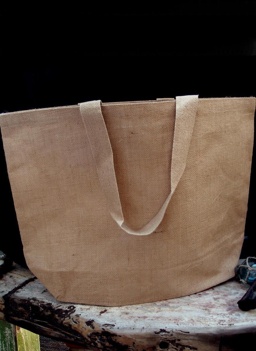 large 24 burlap tote bag cotton lining