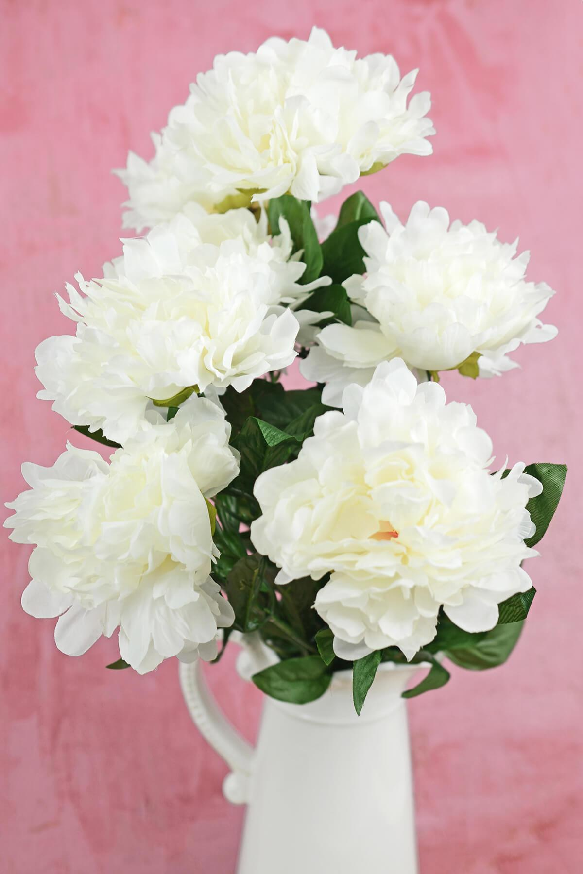 White Silk Peonies Spray