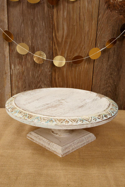 Wood Shabby Chic Cake Stand 11.5 in