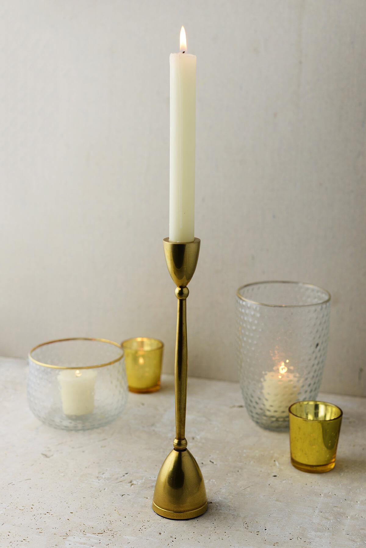 antique gold 10 taper candle holder