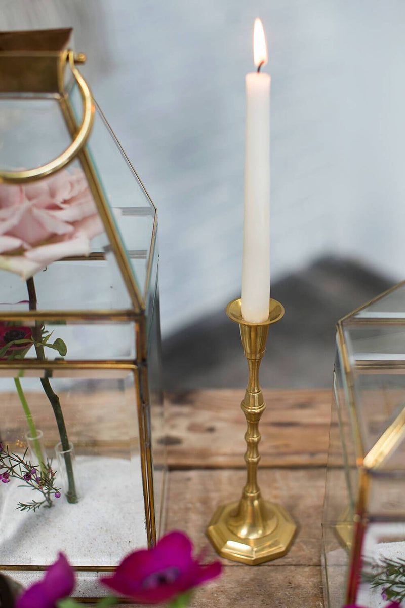 gold metal antique candlestick 9 25in taper candle holders
