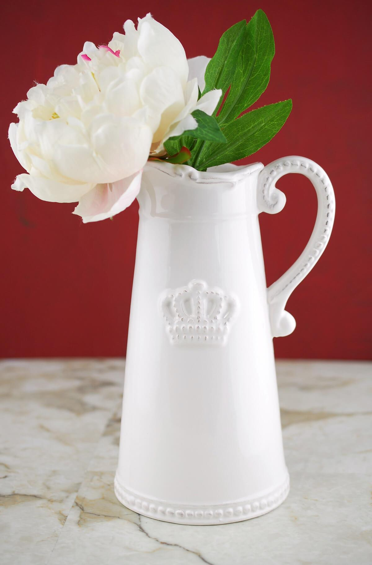 crown ceramic white pitcher 9 5in