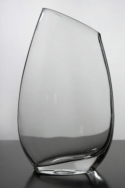 Slanted Rim Glass Vase 10 in.
