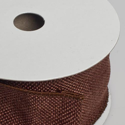 richland burlap ribbon with wire copper brown 2 5 x 10 yards