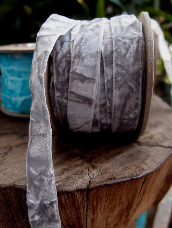 grey crushed velvet ribbon 5 8in x 11yd