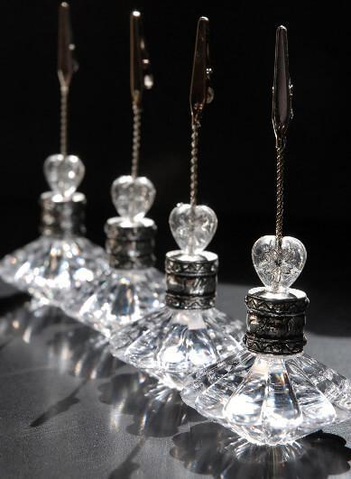 4 crystal place card table number holders