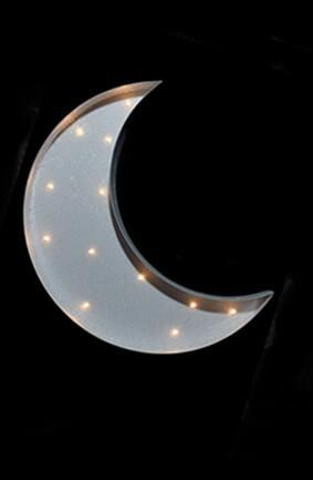 Marquee White Crescent Moon LED Battery Op. 13""