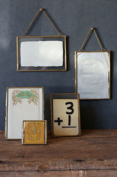 Double Glass Brass & Glass Picture Frame 4x6in