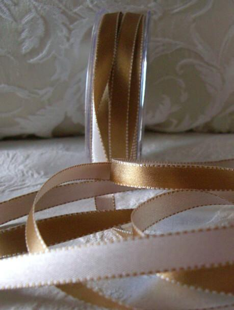 double sided gold ivory 1 2 satin ribbon 55 yds
