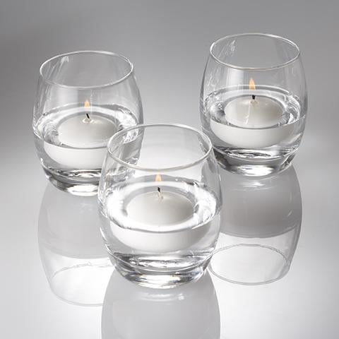 "Eastland Grande Hurricane Holders & Richland Floating Candles 2"" Set of 24"
