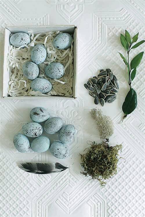 dozen ceramic turquoise eggs in box