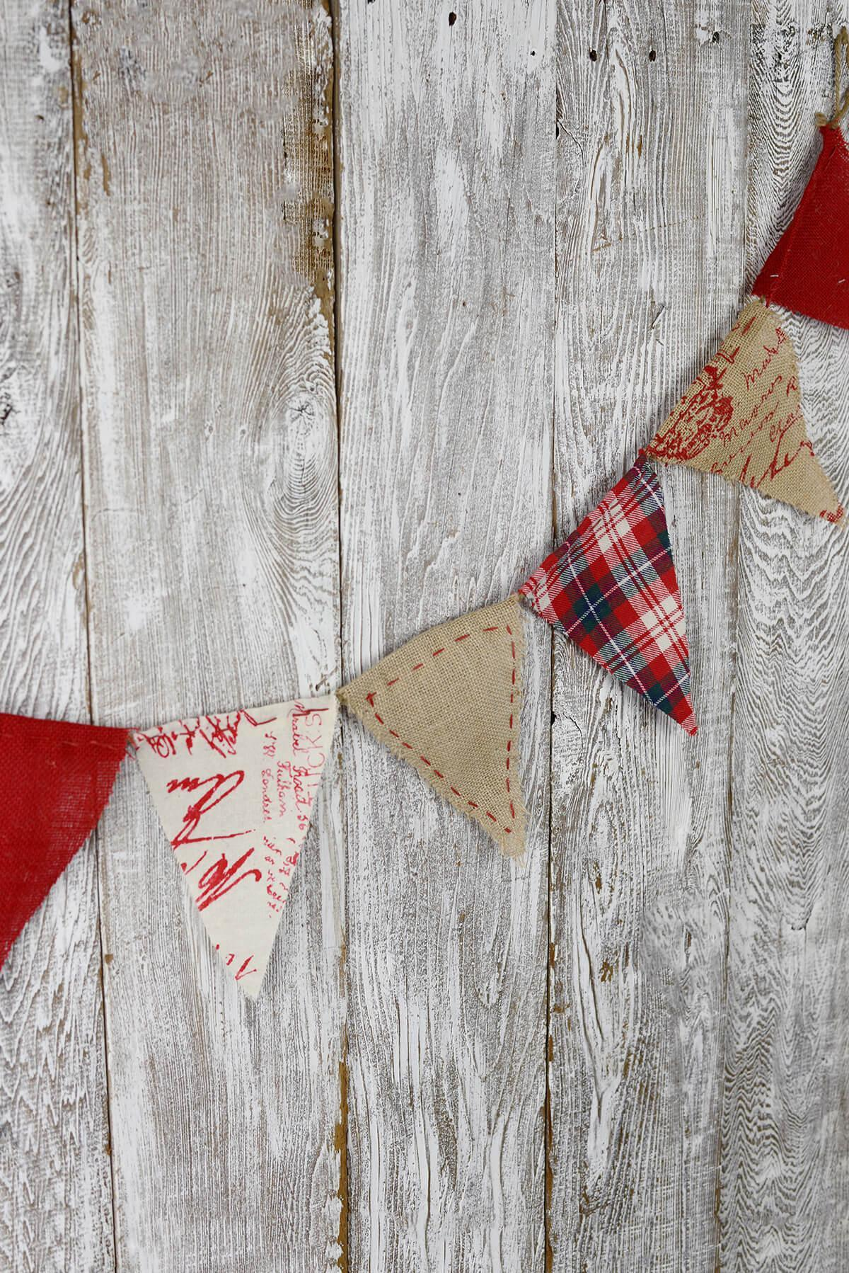 prim red plaid burlap linen flag banner 6ft